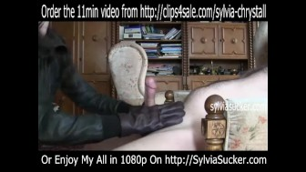 CFNM Leather Gloves Handjob Cum Milking Cumshot Hot Mom Sylvia Chrystall HD