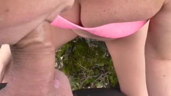 OUTDOOR BJ ON A BIG ROCK