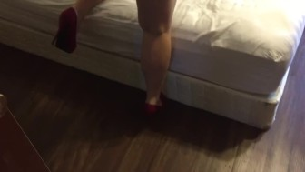 Red heels. Red thong.