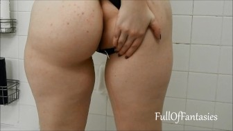 Pissing in a cute Black Thong