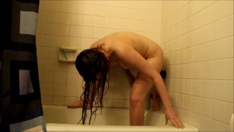Figuring out how to fuck myself in the shower- andrea sky