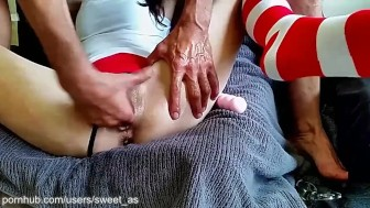 Hot sporty brunette gets finger fucked, sucks balls, gives handjob, cumshot