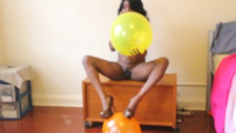 Balloon Popping Topless Tease
