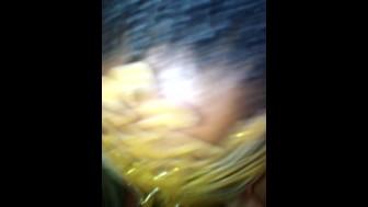 Horny Masked Teen Gags on Dildo