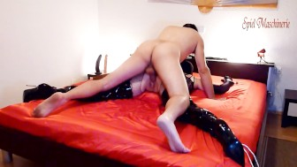 3. spread eagle bondaged slut in thigh high boots - slave begs for cock