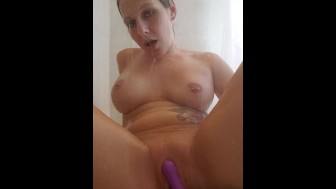 Shaving my wet pussy in the shower and the fucking myself with my vibrator