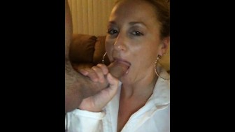 Wife giving blowjob to huge cock hubby