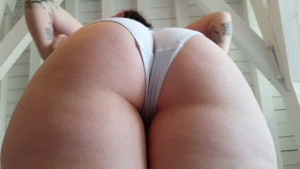 She pulls cute kawaii panties in her big pale ass