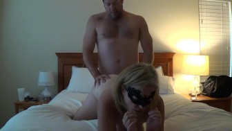 Masked Sweetstuff gets fucked all night final cumshot on stomach