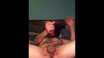 Dildo suck and anal cum