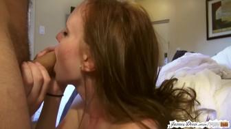 Amateur red head sucks and fucks pornstar james deen in hardcore sex tape