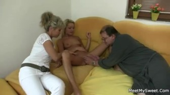 guy leaves and parents seduce his yummy gf HD