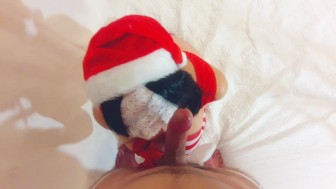 Xmas blowjob and cum in mouth