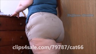 Sexy Redhead BBW Saffron Burke Shows Off Her Big Ass In Tiny Khaki Shorts