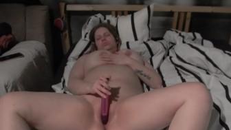 Horny MILF masturbating with dildo