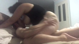 Bbw girlfriend rides boyfriend hardcore while he breast feeds then doggy