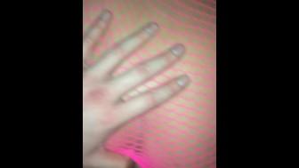milf in pink fishnet suit taking it all in from teen boy