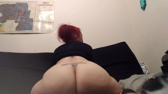 Horny Red Head Rides Her Dildo Till She Cums