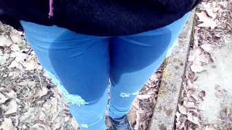 Pee in jeans outdoor