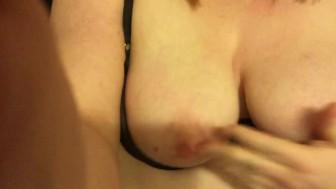 Horny Redhead Sucks Her Own DD Tits