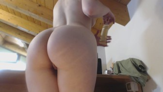 big ass, white leggins and oil