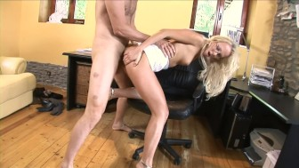 Hot blonde secretary goes the extra mile for her boss