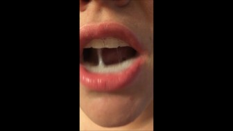 Mouthful of CUM Spit