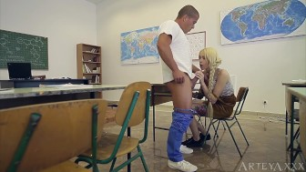 Hard sex in school with tattooed teen Arteya and teacher