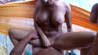 HOT AMATEUR WIFE FUCKED BY HUSBAND ON HAMMOCK - POV