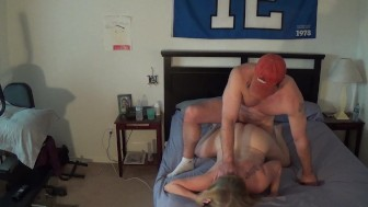Blonde MILF sucks and fucks cum hard on her ass