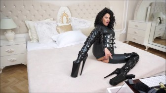 Anisyia Livejasmin Full latex bodysuit extreme high heels