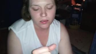 Sexy slut makes daddy cum on her face