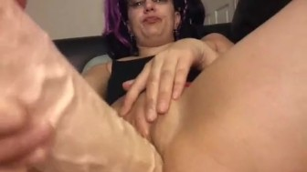 Meaty pussy fucked with two big dildos