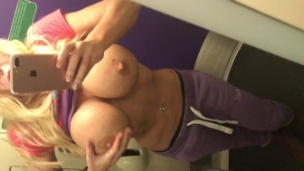 Getting my huge tits out and playing with my tight pussy