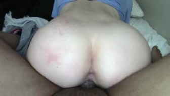 Hot College Blonde Rides until she cums for black cock