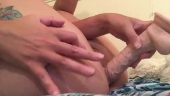 Princesssummersky fucks herself in the ass with big dildo