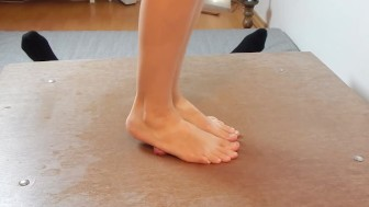 Crush my cock with barefeet and sandals with verbal humiliation and cumshot
