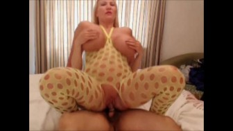 I fuck a masked guy and take his cum all over my huge tits