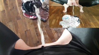 Hot Mom Laura Piss on Pile Of Panties (multicam) - a lot of piss on floor