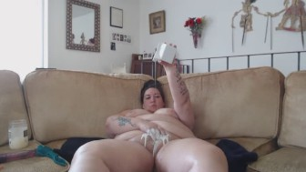 BBW Shaving Pussy, Giving it a Milk Bath, and Masturbating Anally to Orgasm