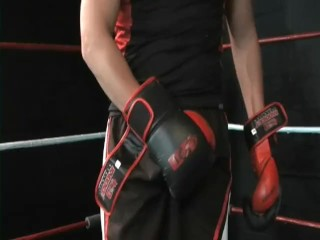 Boxer Jerking Off Cums on his Gloves