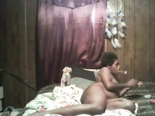 black girl smoking and fucks herself to huge squirting orgasm
