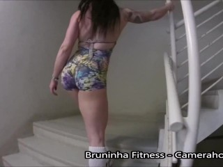 Taking clothes off on Public building - Exhibitionist On Building Stairs