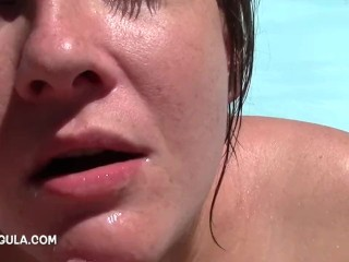 I drained him by the pool – amateur