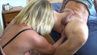Awsome Domina Kate Truu Comes her Husband toTwo Cumshot by Strapon and Fist
