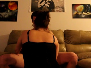 Fucking In The Dark, Black Sexy Lingerie With Bows, Swallow Cum At The End
