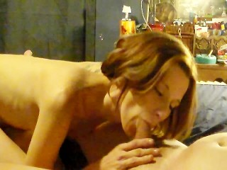 my hot babe GF is really turned on sucking and fucking my big cock