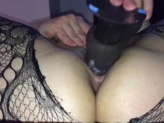 Big dildo makes pussy cream