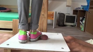 No mercy sneakers cockcrushing. Jump stomp trample full weight on cock ball