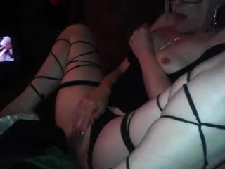 Older woman masturbates alone orgasms watching pornography